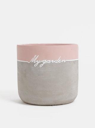Růžovo-šedý betonový květináč Dakls