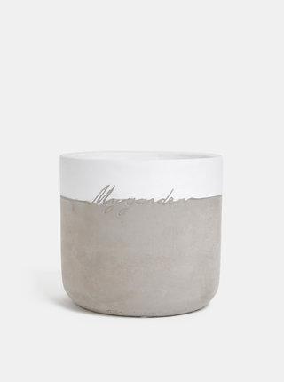 Bílo-šedý betonový květináč Dakls