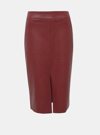 Vínová koženková pouzdrová sukně Dorothy Perkins