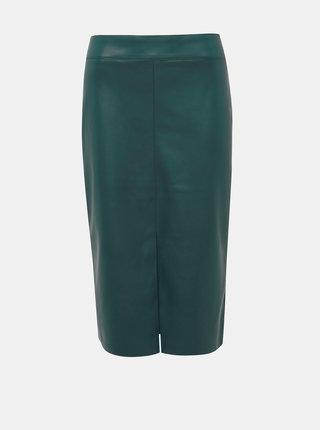 Tmavě zelená  koženková pouzdrová sukně Dorothy Perkins