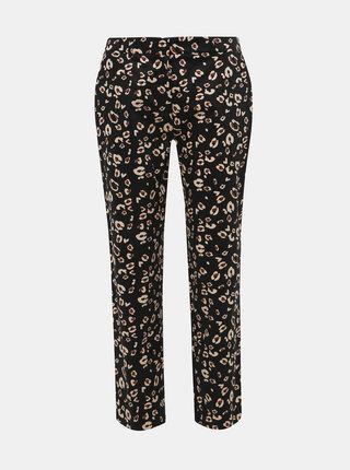 Černé zkrácené kalhoty s leopardím vzorem Dorothy Perkins