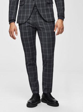 Šedé kostkované oblekové slim fit kalhoty s příměsí vlny Selected Homme Myloport