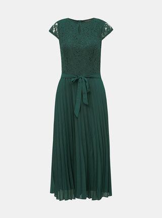Zelené krajkové midi šaty s plisovanou sukní Dorothy Perkins