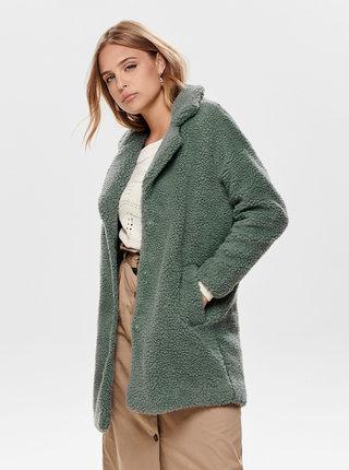 Zelenošedý kabát z umělé kožešiny ONLY Aurelia