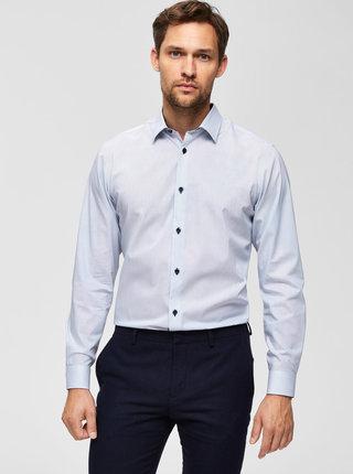 Bílá puntíkovaná slim fit košile Selected Homme Pen