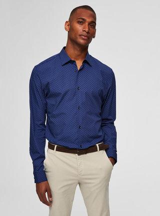 Tmavě modrá vzorovaná slim fit košile Selected Homme Pen