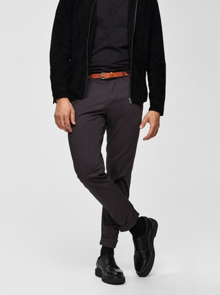 Tmavošedé slim fit nohavice Selected Homme Yard