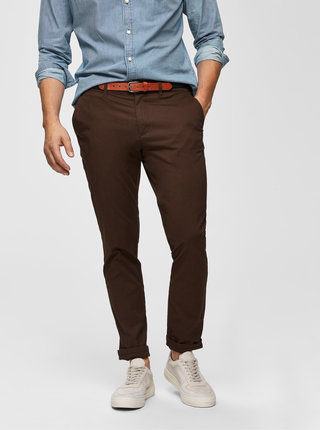 Hnedé slim fit nohavice Selected Homme Yard