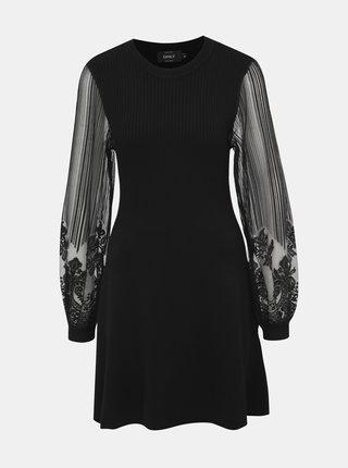 Čierne svetrové šaty s krajkovými rukávmi ONLY Lacey