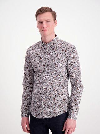 Šedá květovaná slim fit košile Lindbergh