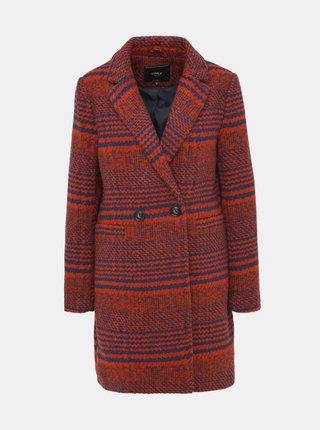 Červený vzorovaný kabát ONLY Johanna