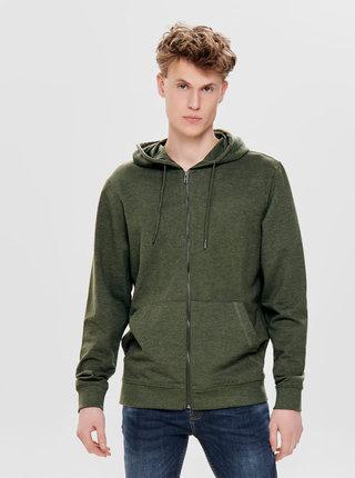 Khaki basic mikina se zipem a kapucí ONLY & SONS Basic