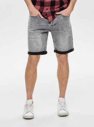 Pantaloni scurti gri din denim ONLY & SONS Ply