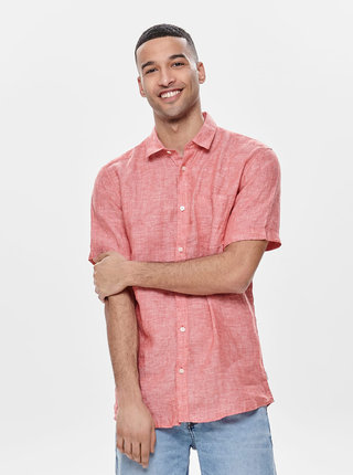 Červená lněná košile ONLY & SONS Luke