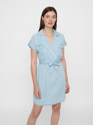 Rochie tip camasa albastru deschis din denim Noisy May Vera