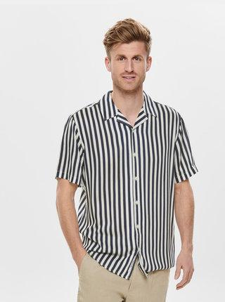 Tmavě modrá pruhovaná regular fit košile ONLY & SONS Wayne