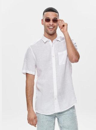 Bílá lněná košile ONLY & SONS Luke