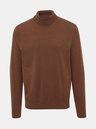 Hnedý basic sveter s rolákom Burton Menswear London