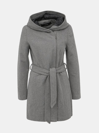 Šedý kabát s příměsí vlny VERO MODA Joyce Daisy