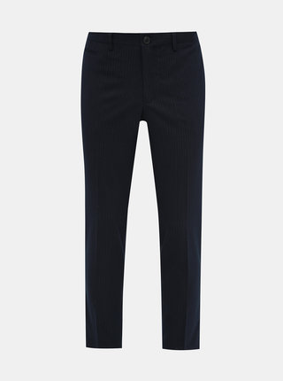 Tmavě modré pruhované slim fit kahoty Selected Homme Kent