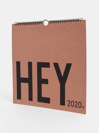 Starorůžový nástěnný kalendář se samolepkami Design Letters 2020
