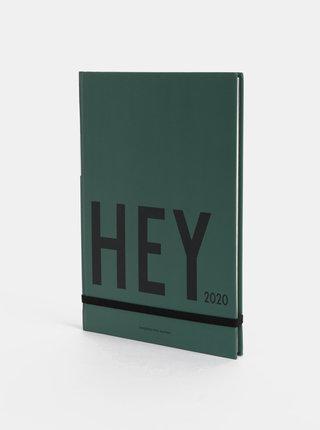 Zelený týdenní diář A5 na rok 2020 Design Letters