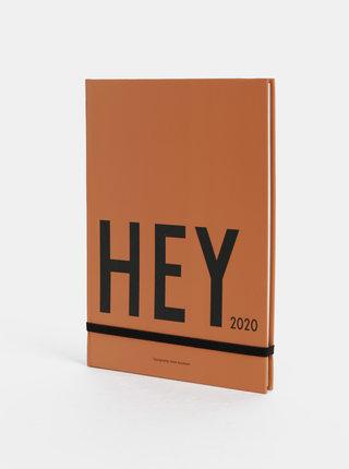 Hnědý týdenní diář A5 na rok 2020 Design Letters