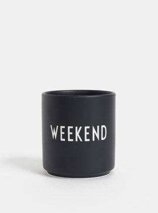 Černý porcelánový hrnek Design Letters Weekend 300 ml