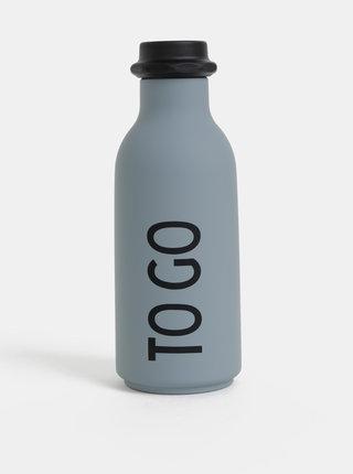 Šedá láhev na pití Design Letters 500 ml