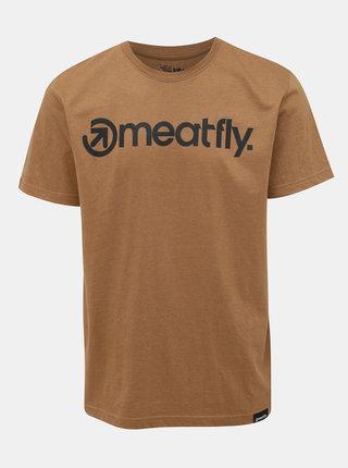 Hnedé pánske tričko Meatfly Logo