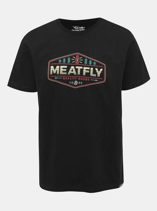 Čierne pánske tričko s potlačou Meatfly Patrol