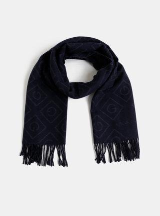 Tmavě modrá dámská vlněná vzorovaná šála GANT