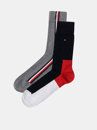 Sada dvou párů pánských ponožek v šedé a tmavě modré barvě Tommy Hilfiger