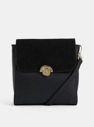 Čierna crossbody kabelka s detailmi v semišovej úprave Gionni Grenoble