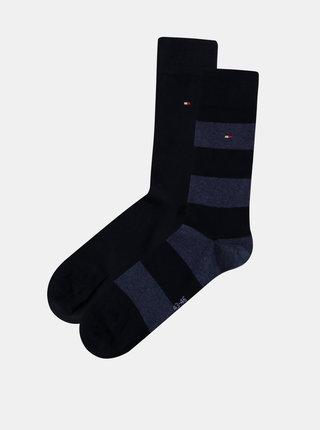 Sada dvou párů pánských pruhovaných ponožek v tmavě modré barvě Tommy Hilfiger