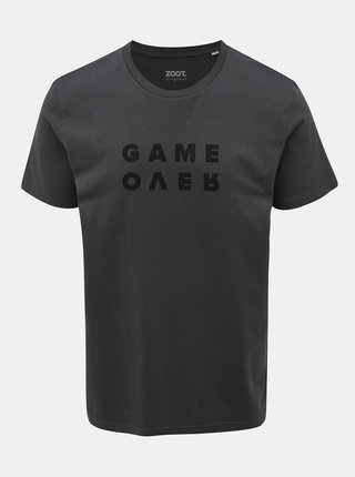 Tmavošedé pánske tričko s potlačou ZOOT Originál Game Over