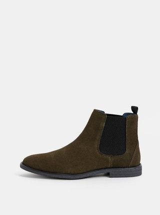 Khaki pánské semišové chelsea boty Burton Menswear London