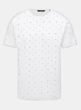 Biele vzorované tričko ONLY & SONS Boaz
