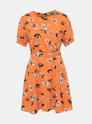 Oranžové květované šaty Miss Selfridge