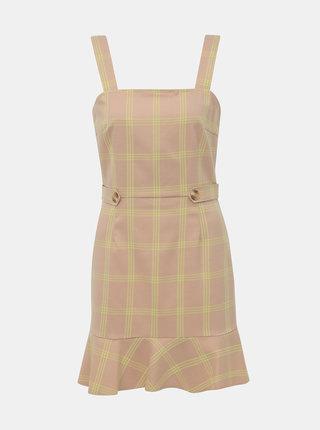 Béžové kockované šaty Miss Selfridge