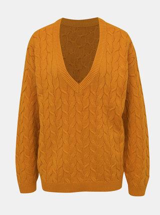 Horčicový sveter VILA Depart