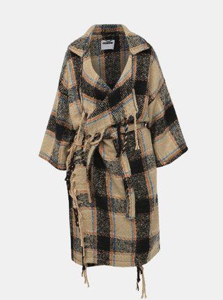 Svetlohnedý kockovaný ľahký kabát Noisy May Darcie
