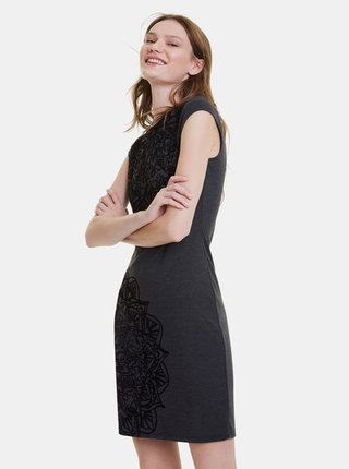 Tmavošedé vzorované púzdrové šaty Desigual Vest Landi