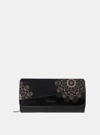 Čierna vzorovaná peňaženka v semišovej úprave Desigual 2Stones