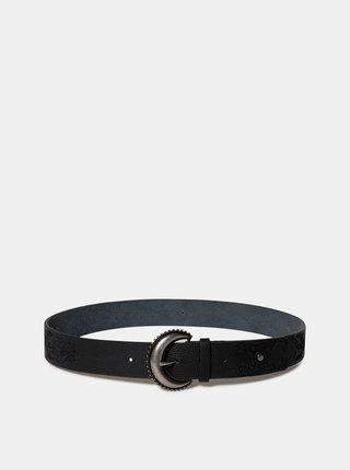Černý vzorovaný kožený pásek Desigual Boho