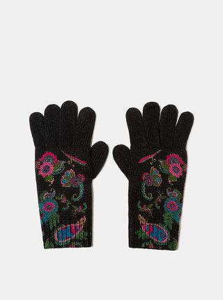 Čierne vzorované rukavice Desigual Anubis