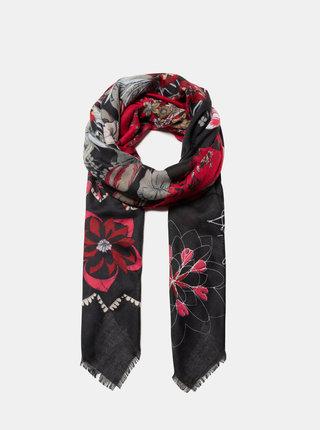 Čierno-červená kvetovaná šatka Desigual Flower Patch