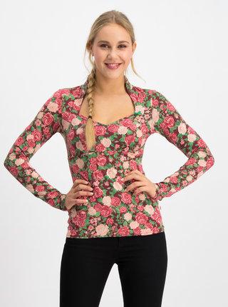 Rúžové kvetované tričko Blutsgeschwister Miraculous