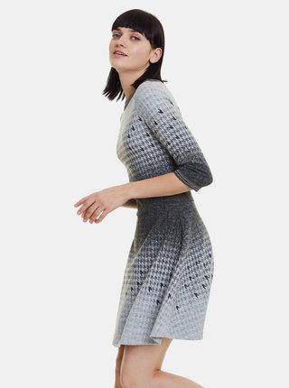 Šedé vzorované svetrové šaty Desigual Miriam