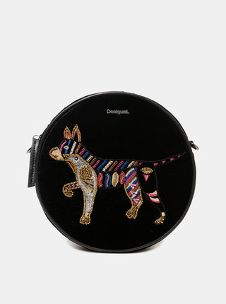 Čierna crossbody kabelka s výšivkou Desigual Party Animal